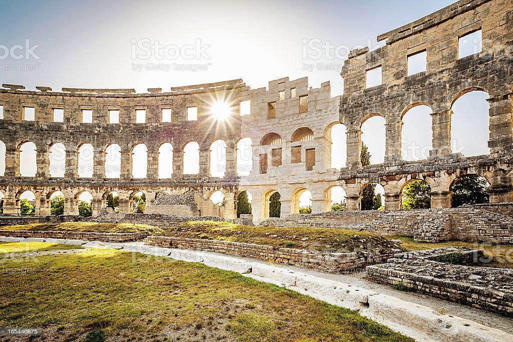 Ancient Amphitheater Pula, Croatia stock photo