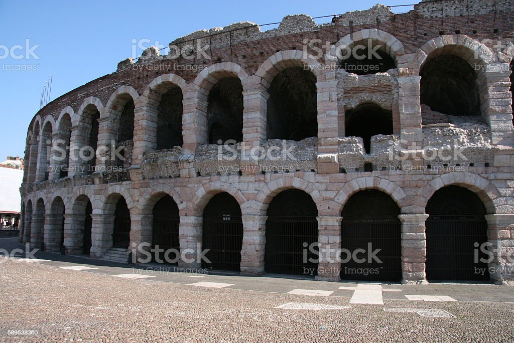 Ancient amphitheatre arena - Verona, Italy stock photo