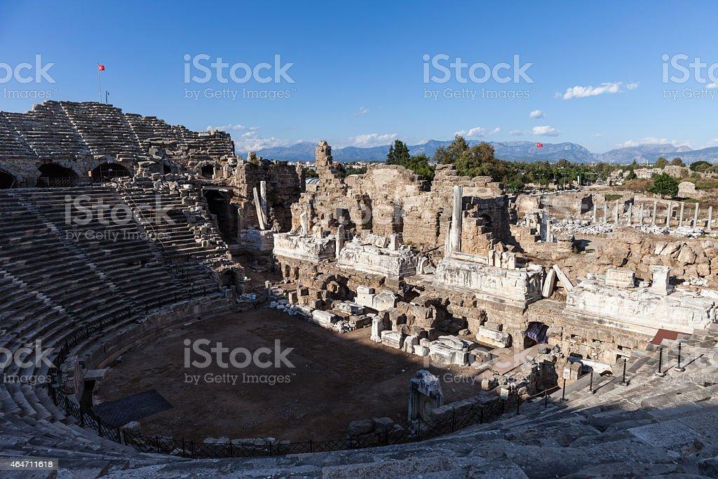 Ancient amphitheatre at Turkey Side city ruins stock photo