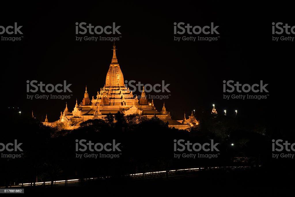 Ancient Ananda Pagoda before sunrise with lightup, Bagan(Pagan), stock photo