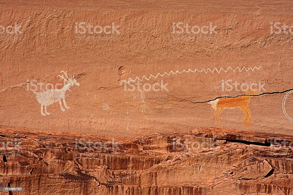 Ancient Anasazi and Navajo Pictographs royalty-free stock photo