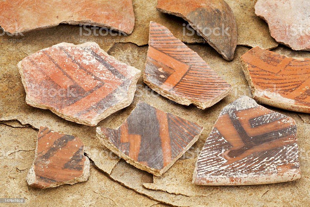 ancient Anasazi pottery shards stock photo