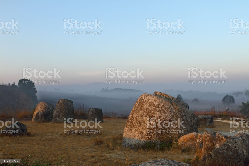 Ancient and famous Plain of Jars in Laos stock photo