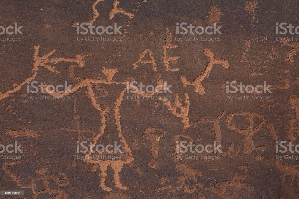 Ancient and modern rock art at Sand Island, southeastern Utah stock photo