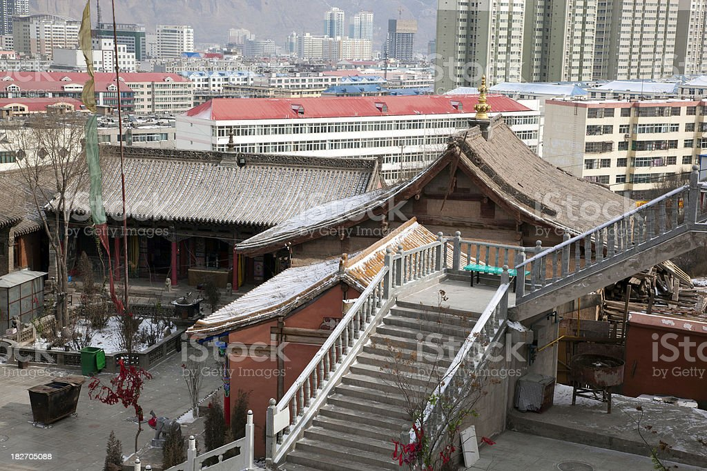 Ancient and Modern Xining stock photo