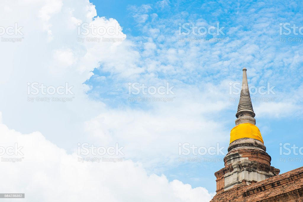 ancient and old pagoda at Wat Yai Chai Mongkol stock photo