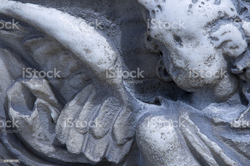 Ancient Angel on a Roman Tomb, Italy (Close-Up Detail) stock photo
