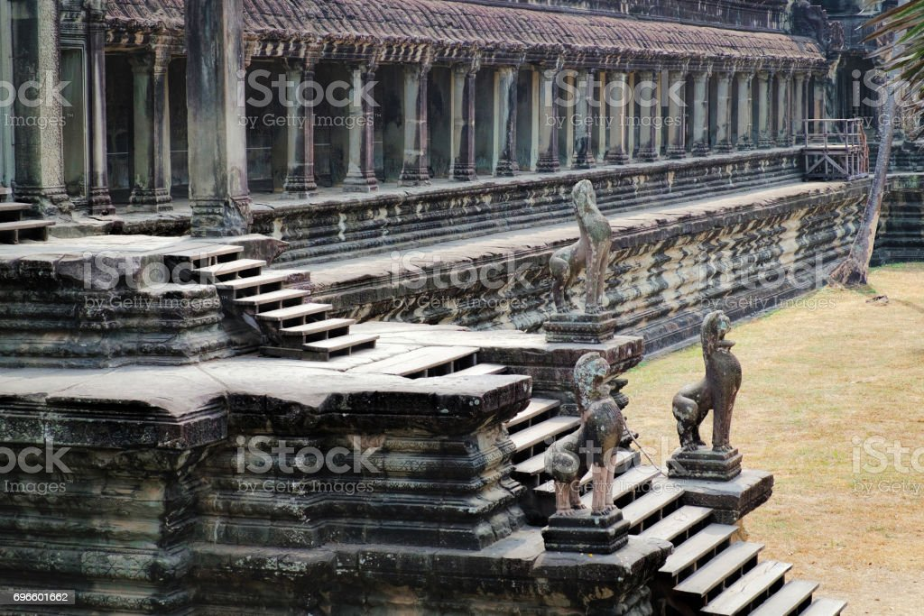Ancient Angkor Wat in Siem Reap, Cambodia. stock photo