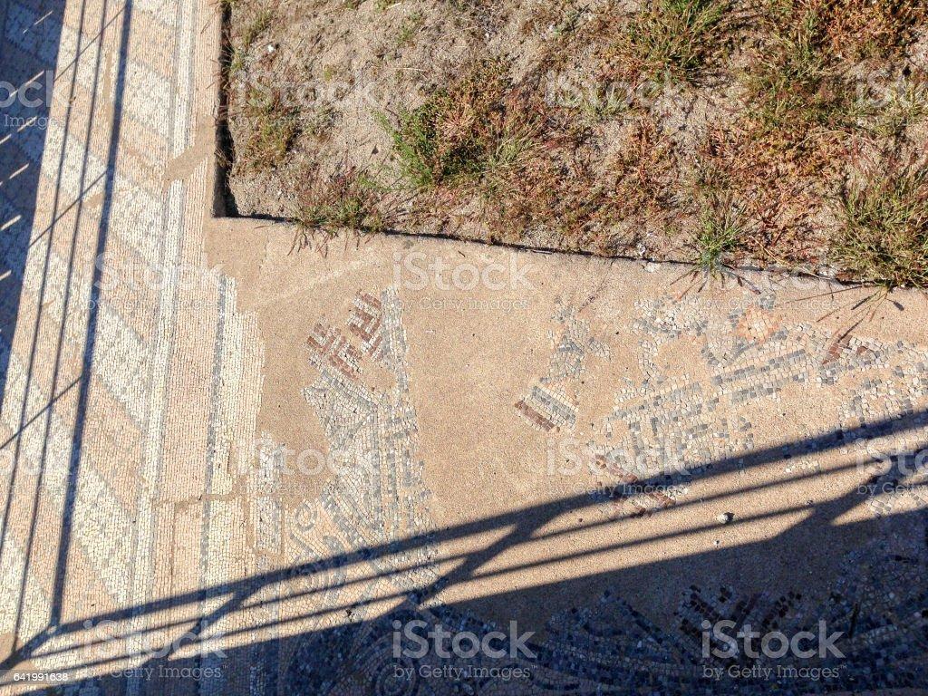Ancient antique mosaic fragment stock photo