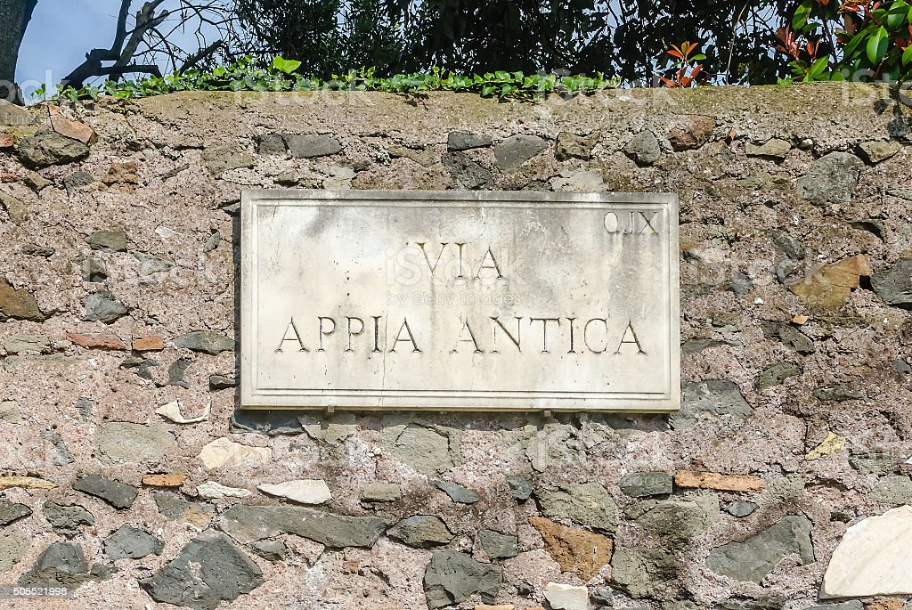 Ancient Appian Way sign in Rome, Italy stock photo