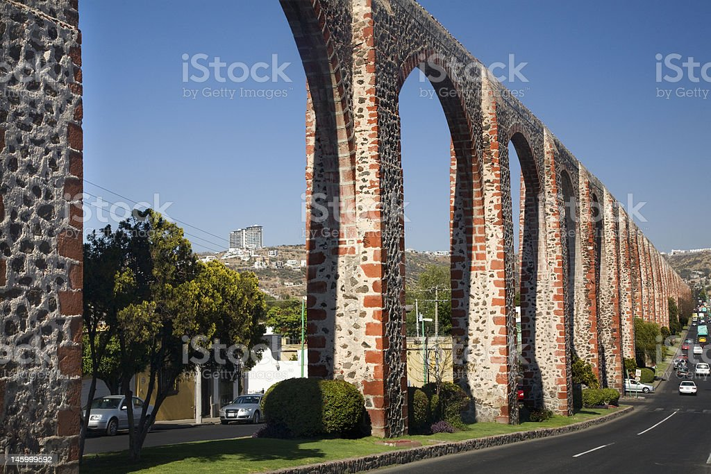 Ancient Aquaduct Queretaro Mexico stock photo