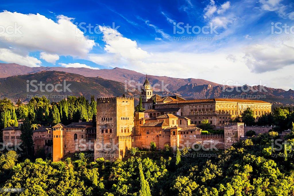 Ancient arabic fortress of Alhambra, Granada, Spain. stock photo