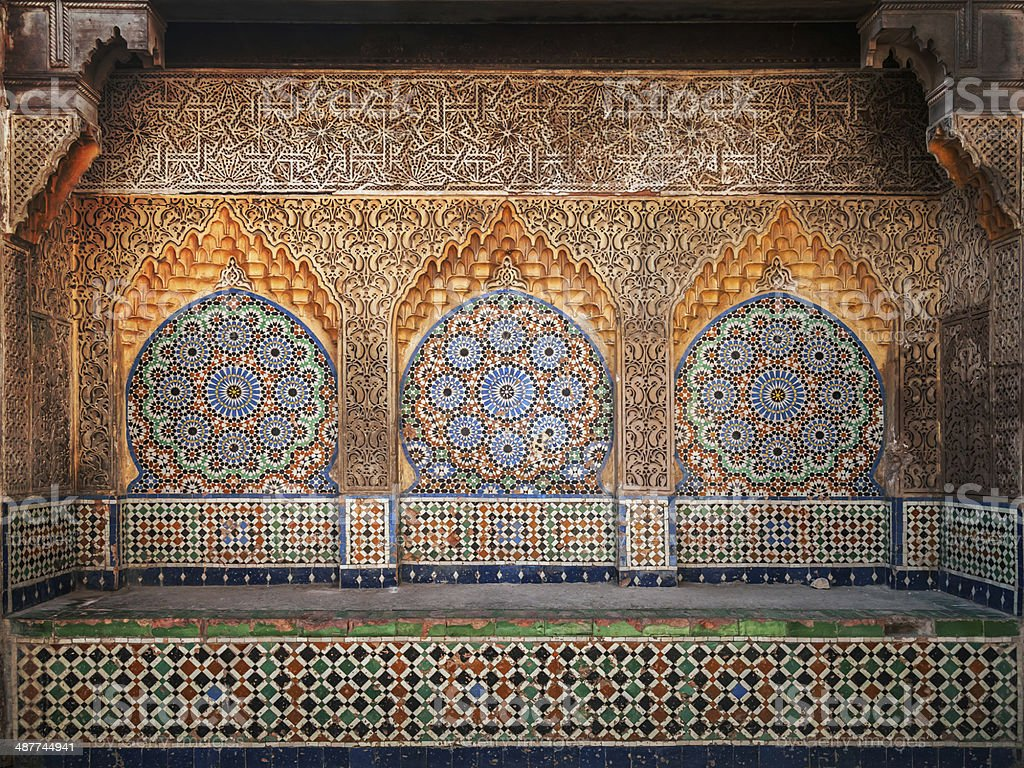 Ancient Arabic niche with mosaic in Medina. Tangier, Morocco stock photo