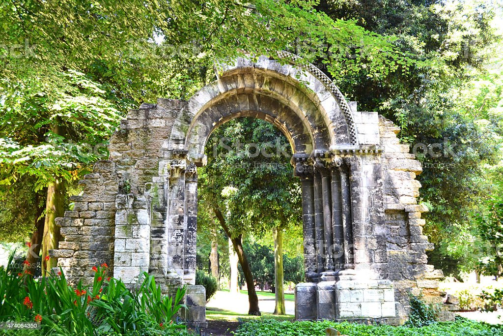 Ancient arch in a park at Oviedo, Spain stock photo