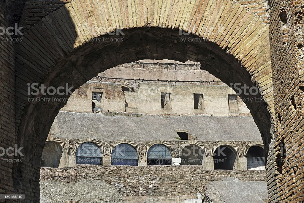 ancient Arch of the Colosseum royalty-free stock photo