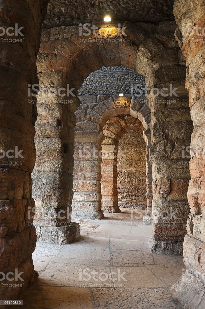 Ancient arches in Verona's Amphitheater stock photo