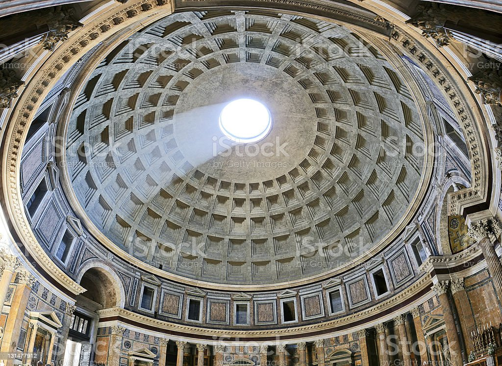 Ancient architectural masterpiece of Pantheon in Roma, Italy stock photo