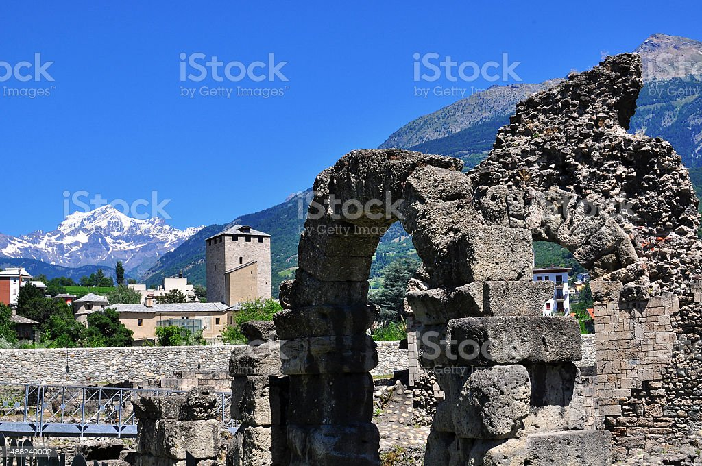 Ancient architecture of Aosta stock photo
