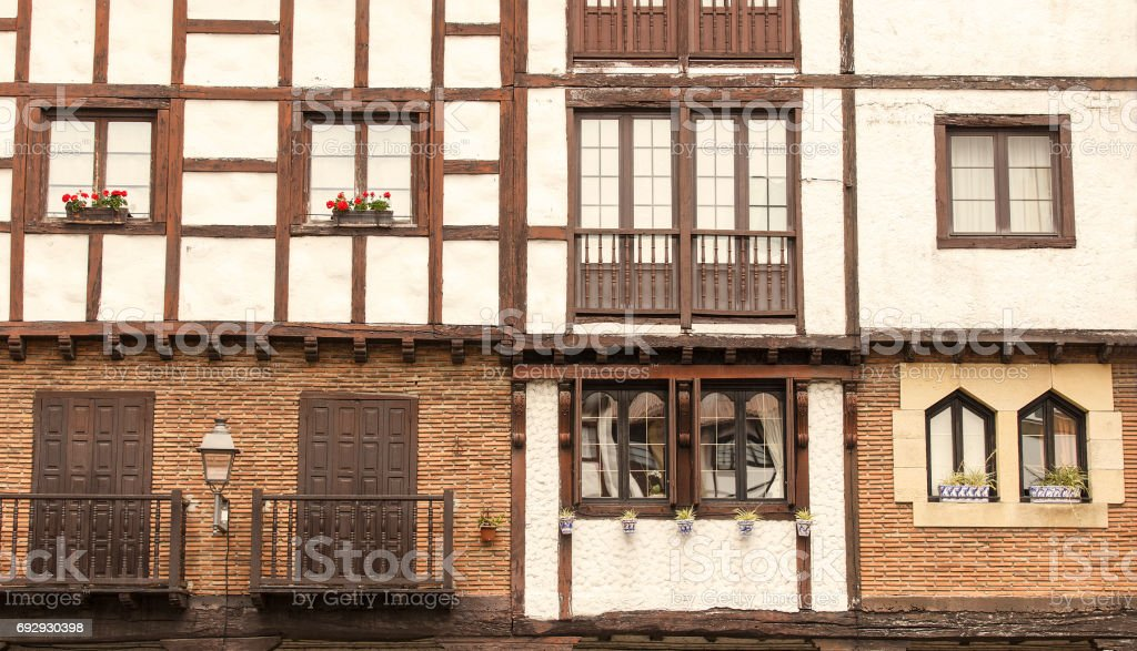 Ancient architecture of Hondarribia, Basque Country stock photo