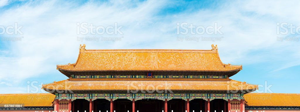 ancient architecture style building in blue sky stock photo