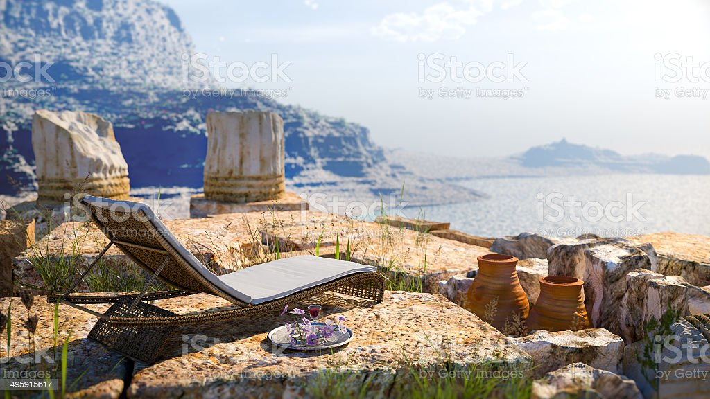 ancient architecture with sunbed concept tourism vacation background stock photo