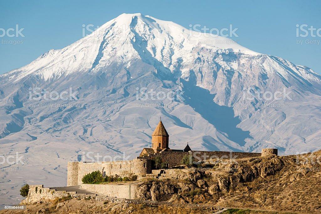 Ancient Armenian church Khor Virap with Ararat on the background stock photo