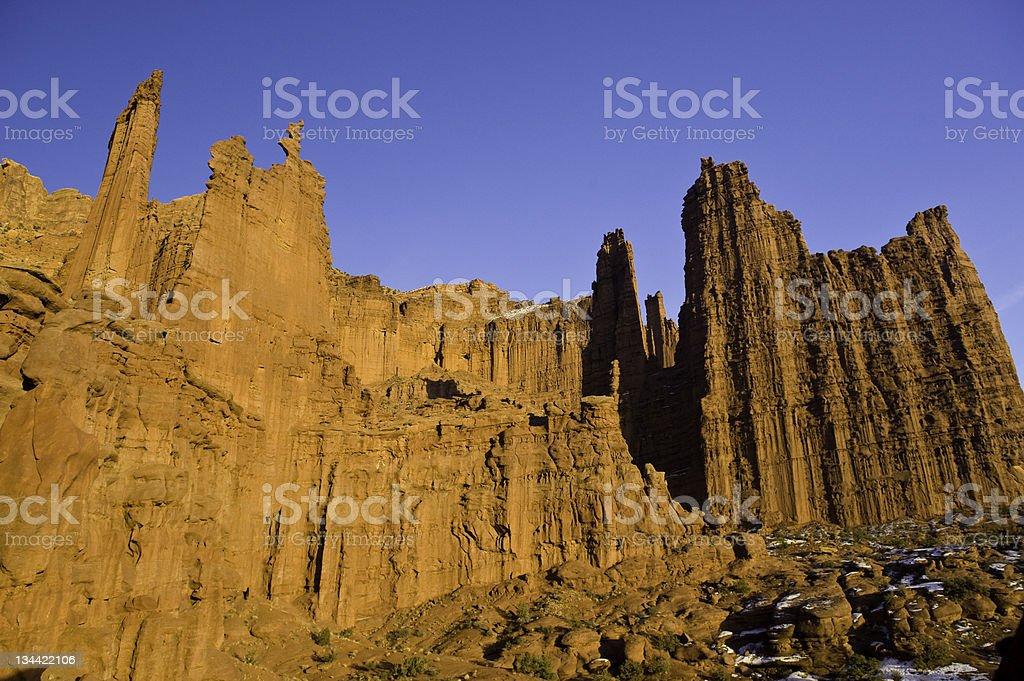 Ancient Art Fisher Towers Moab Utah stock photo