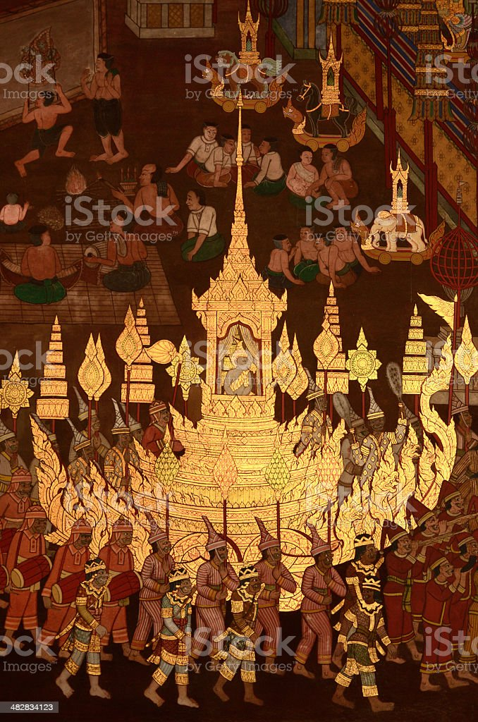 Ancient art mural in Buddhist temple royalty-free stock photo