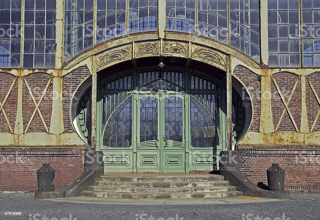 Ancient art nouveau door of an old coal mine royalty-free stock photo