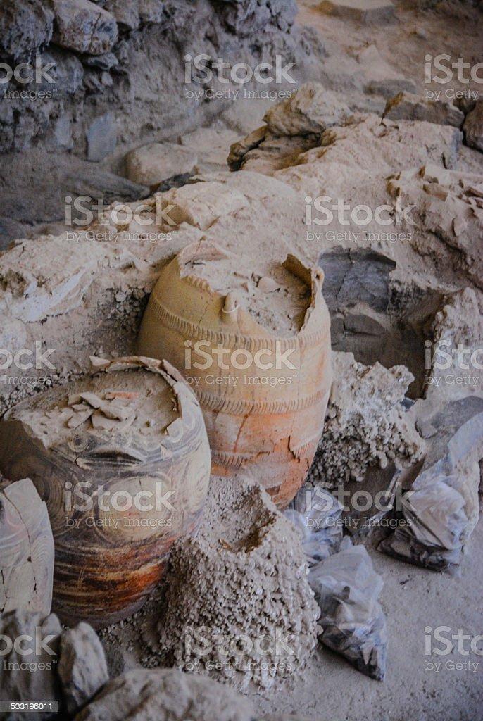 Ancient artifacts in Akrotiri, Santorini (Thira) stock photo