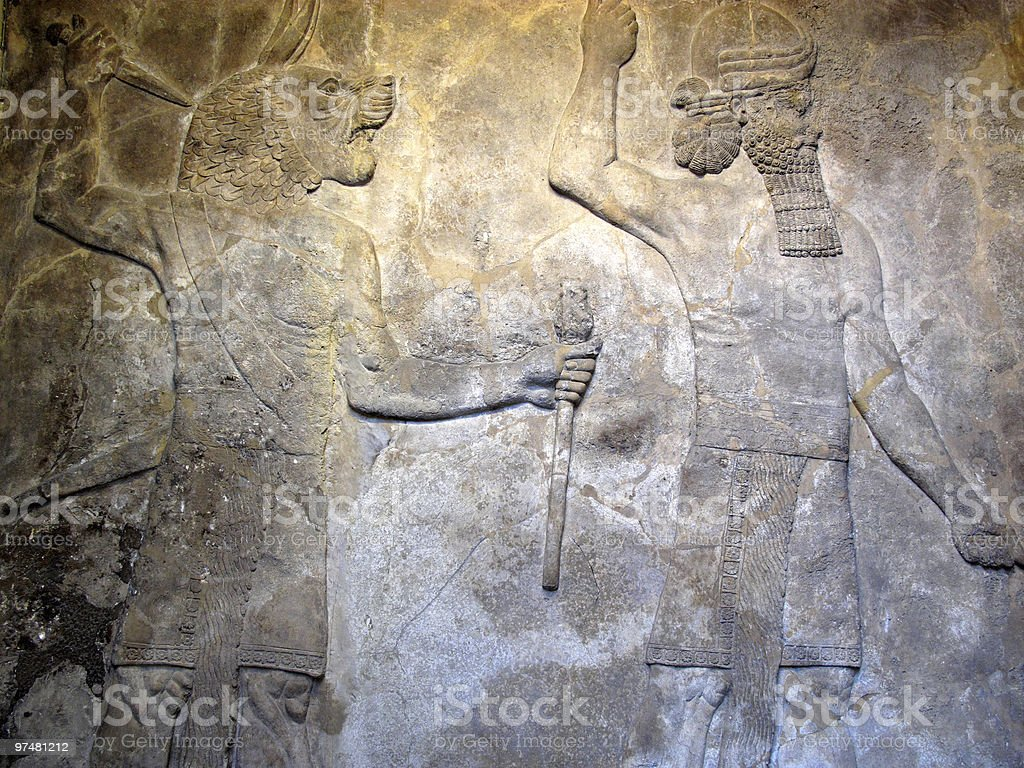 Ancient Assyrian Relief Pair Of Protective Spirits stock photo