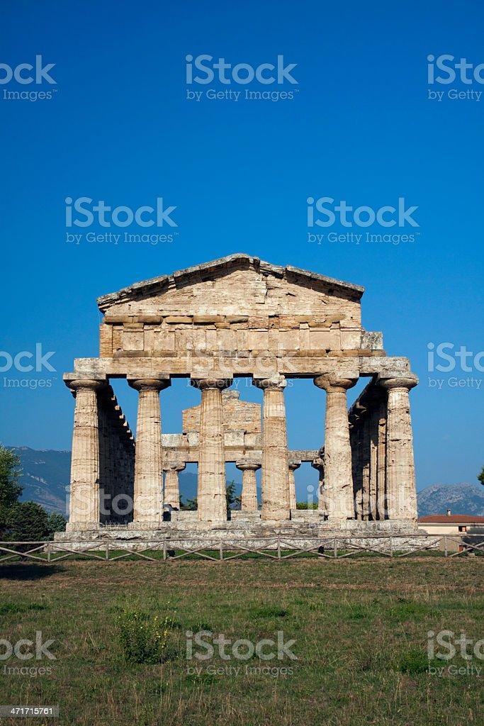 Ancient Athena temple in Paestum. stock photo