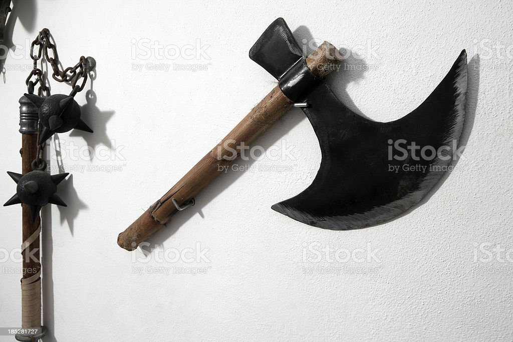 Ancient axe and spiked ball royalty-free stock photo