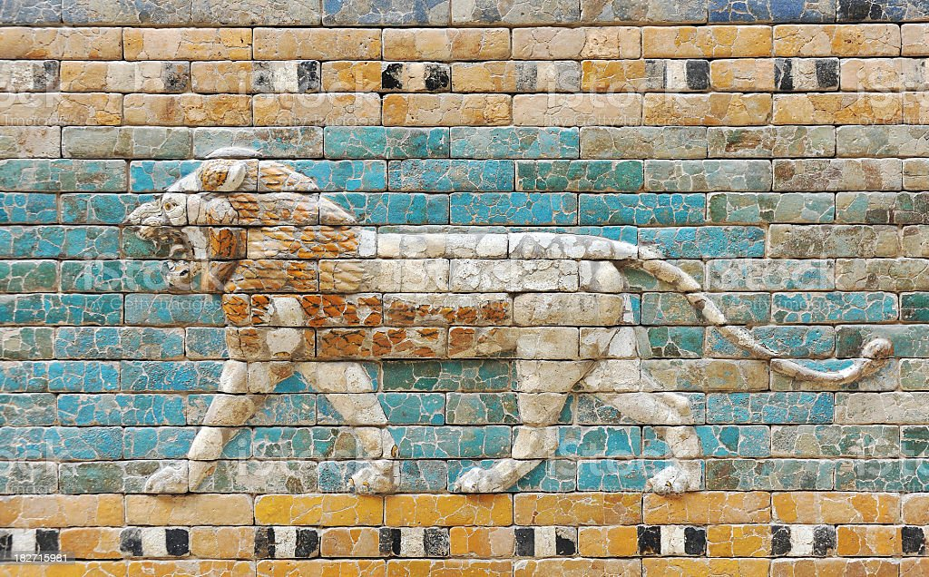 Ancient Babylon Lion tiles stock photo