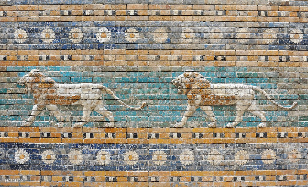 Ancient Babylon Lions stock photo