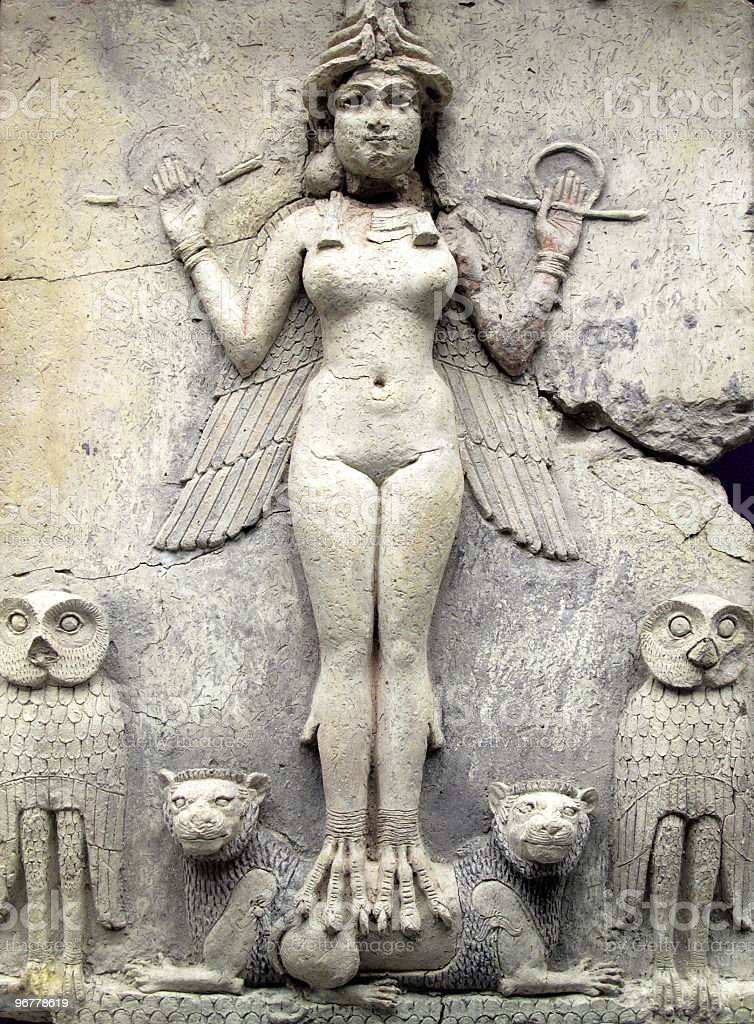 Ancient Babylonian Figure, Queen of the Night stock photo