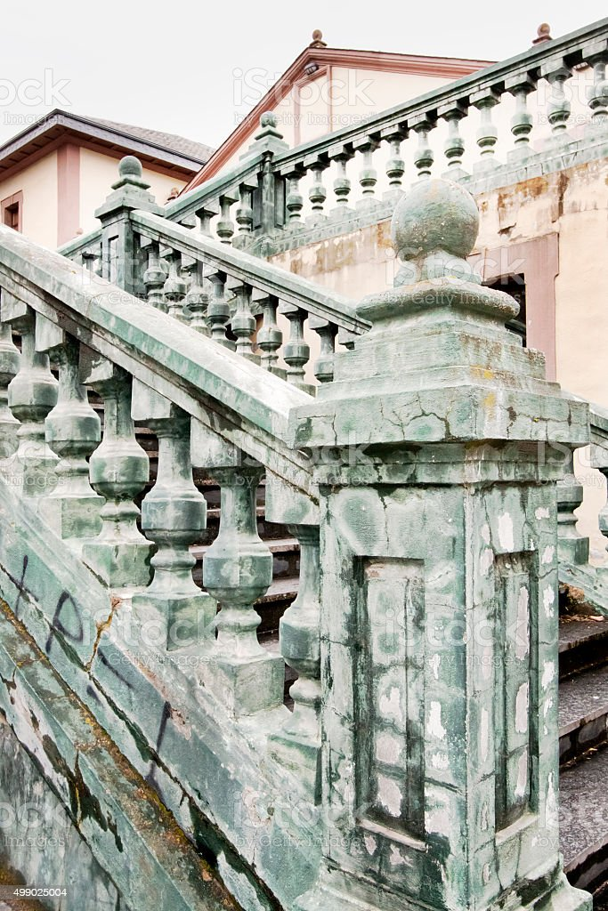 Ancient balustrade and staircase. stock photo