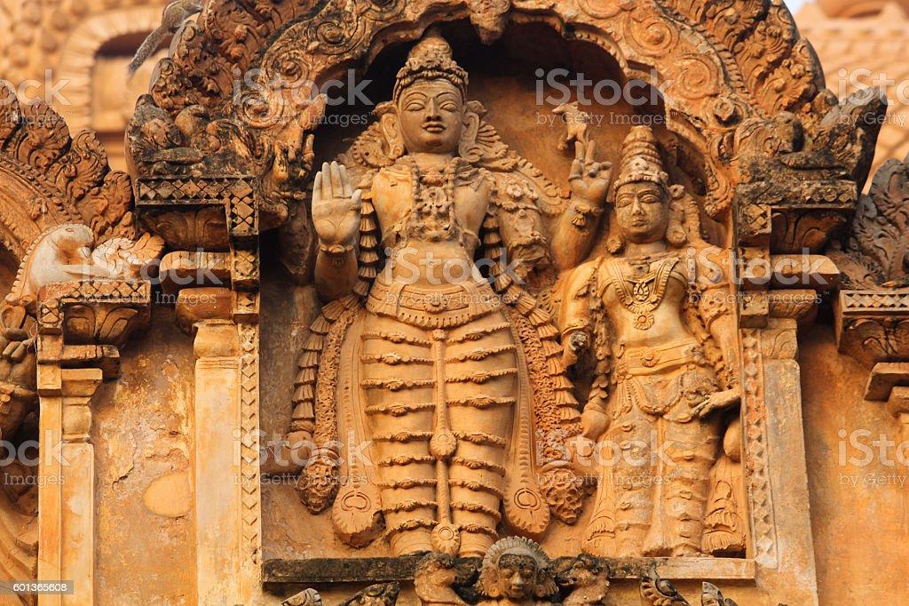 Ancient bas relief. Brihadishwara Temple. Tanjore (Thanjavur) stock photo