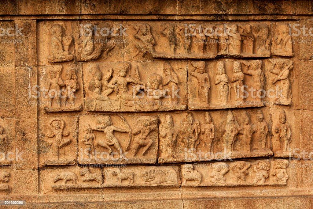 Ancient bas relief. Brihadishwara Temple. Tanjore (Thanjavur), Tamil Nadu, India stock photo