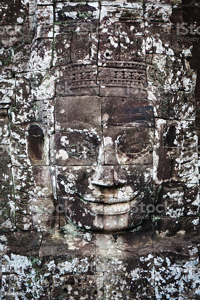 Ancient bas-relief in Cambodia stock photo