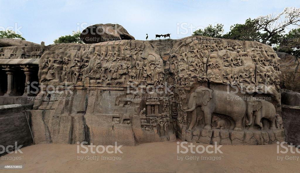 Ancient basreliefs in Mamallapuram, Tamil Nadu, India stock photo