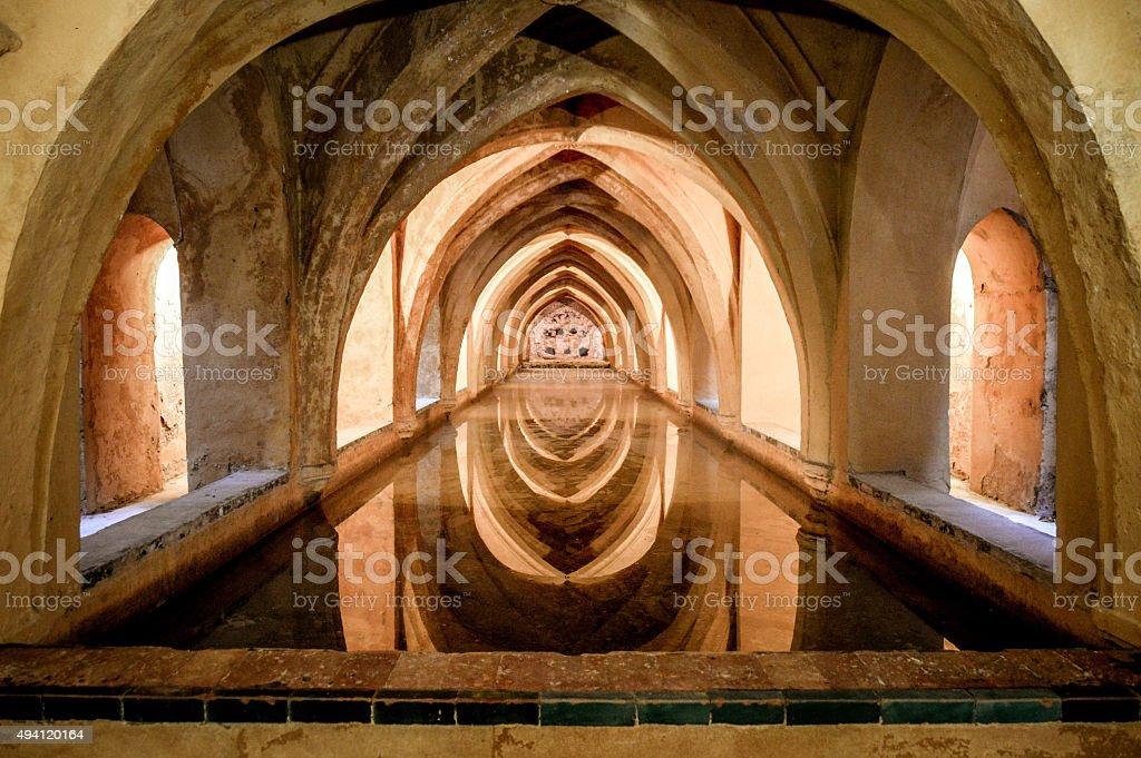 Ancient baths in the Alcazar of Seville, Spain stock photo