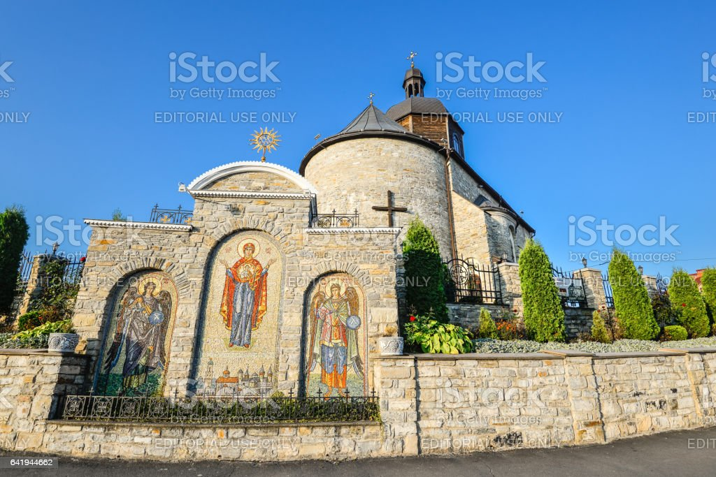 Ancient beautiful church and bright blue sky stock photo