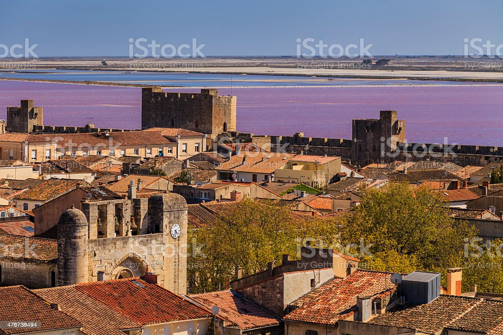 Ancient beautiful city in France. Languedoc. Camargue. stock photo