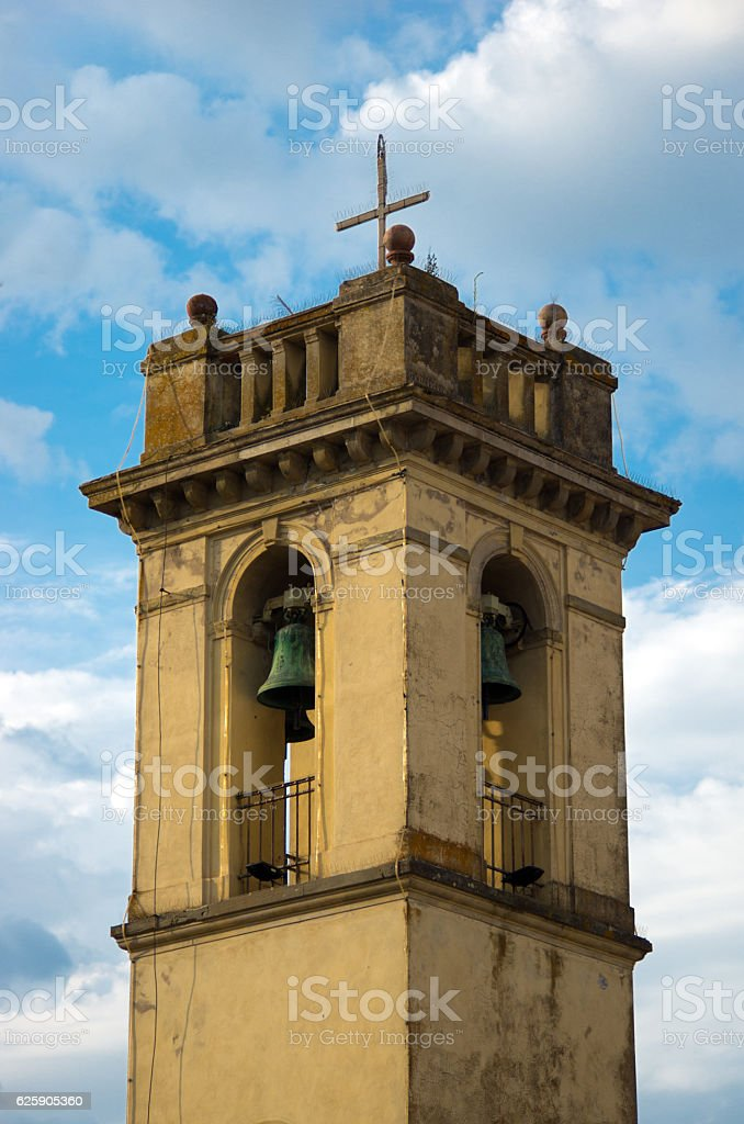 ancient bell tower with bronze bells stock photo