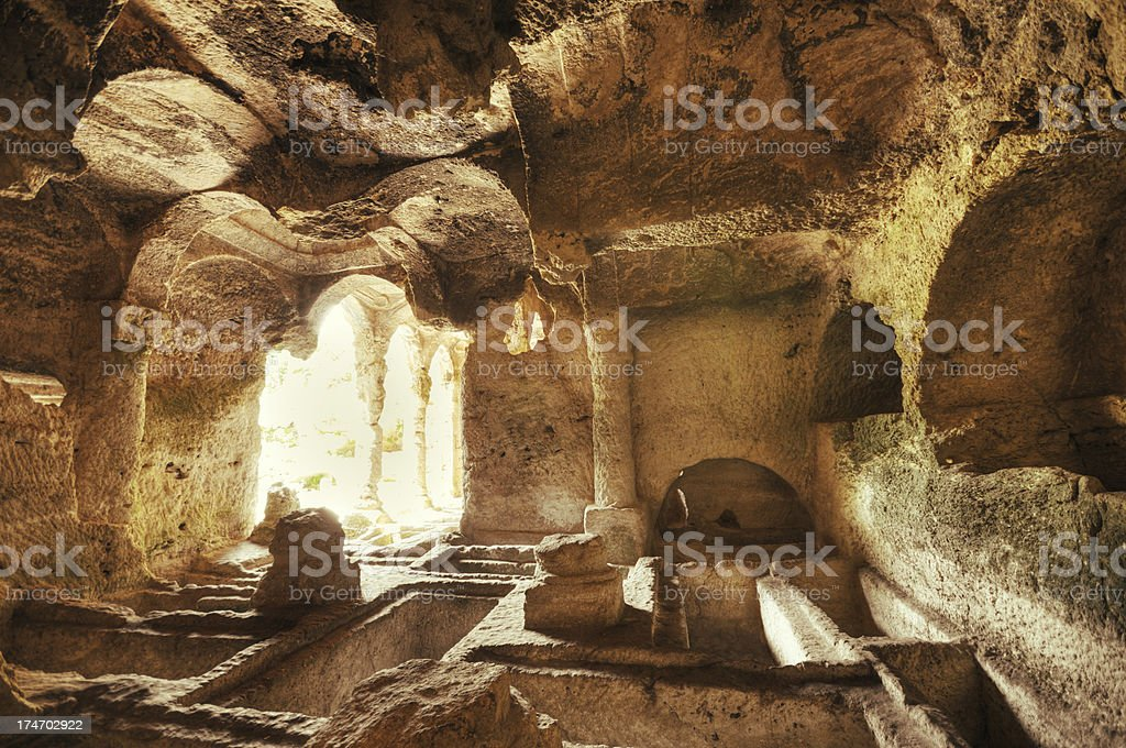 Ancient Besikli Cave, Antakya, Turkey stock photo