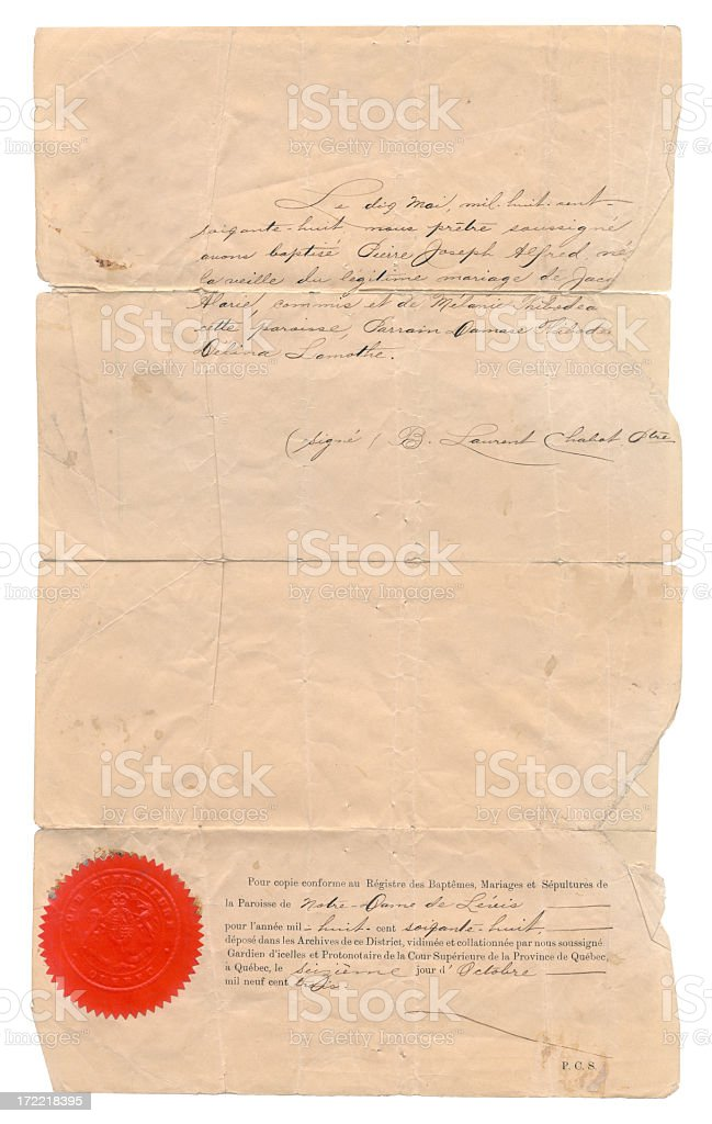 Ancient birth certificate stock photo