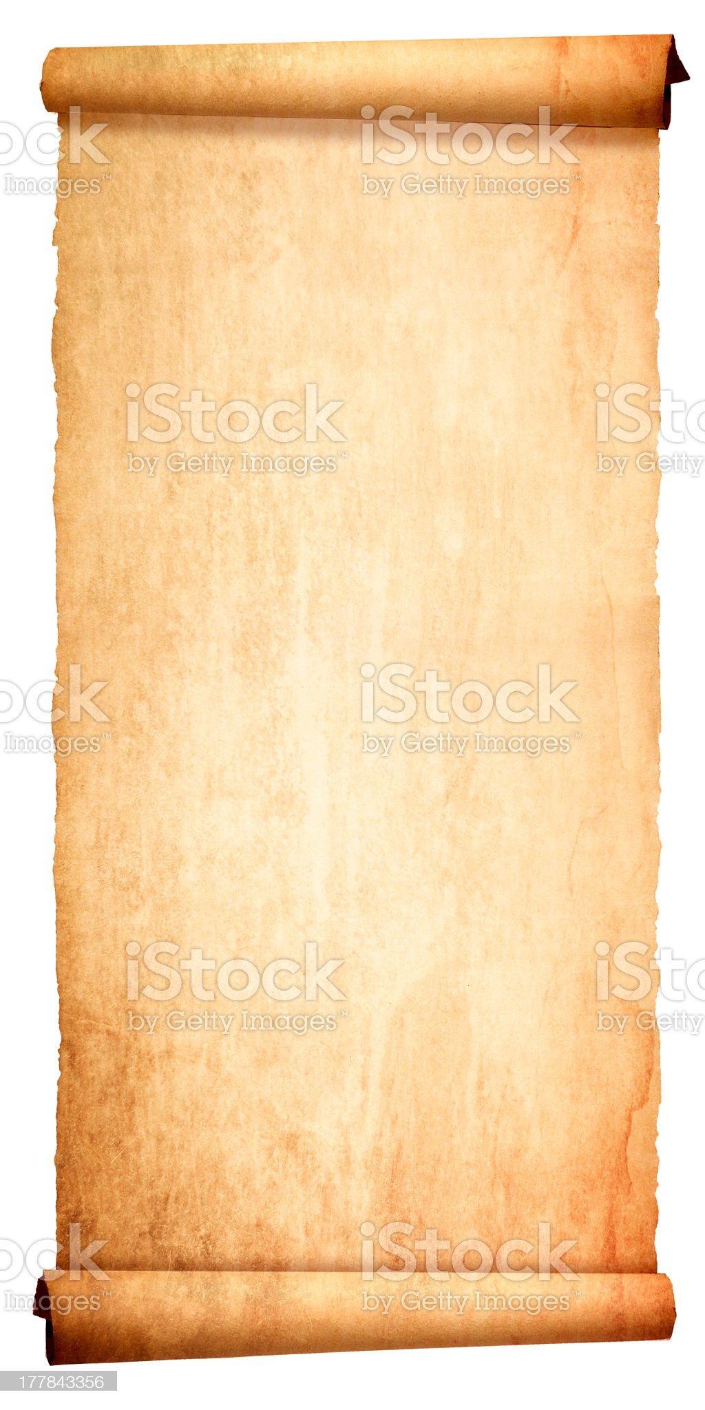 Ancient blank scroll isolated on white background royalty-free stock photo