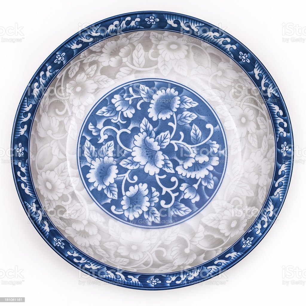 Ancient blue and white porcelain plate stock photo