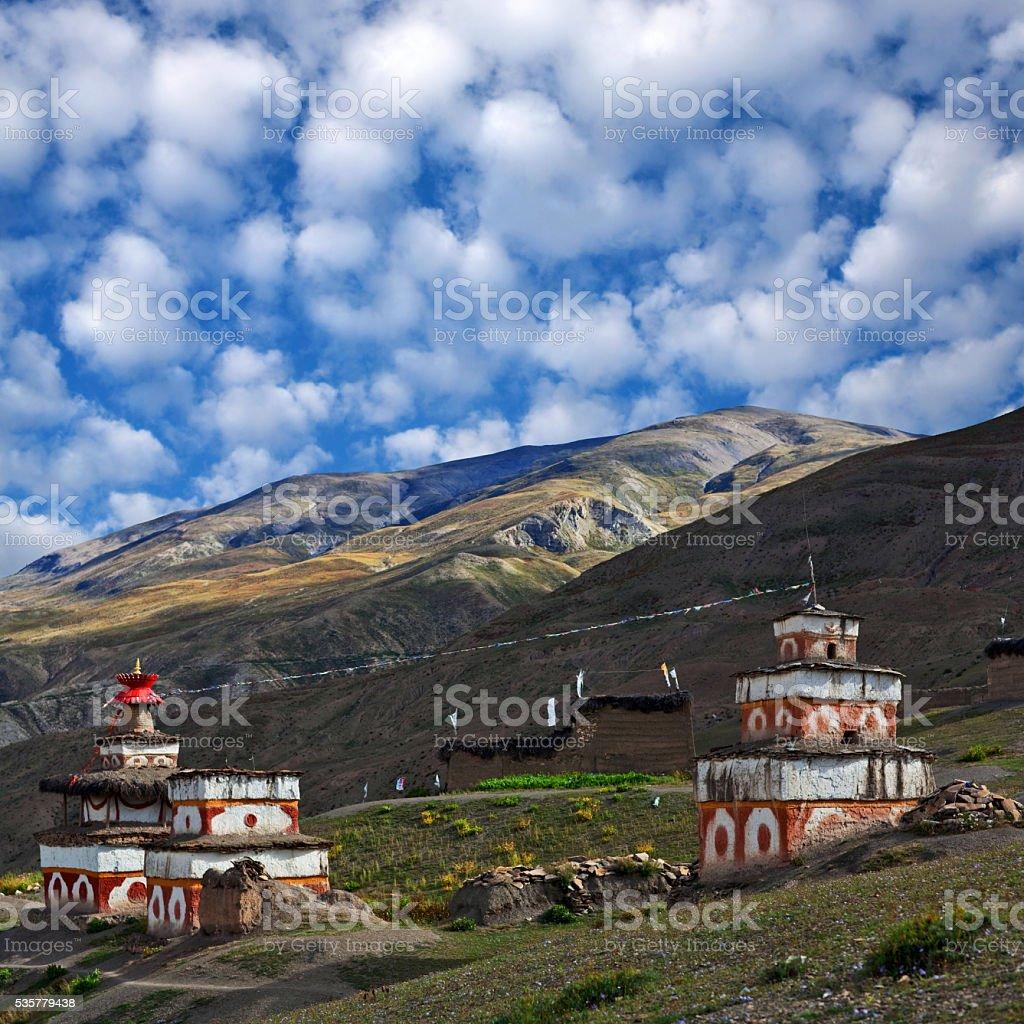Ancient Bon stupa in Dolpo, Nepal stock photo